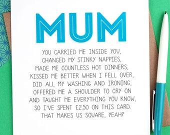 Funny Birthday Card for Mum - Funny Mothers Day Card - mum birthday card - mom birthday card - funny mum card - mum cards - mom cards