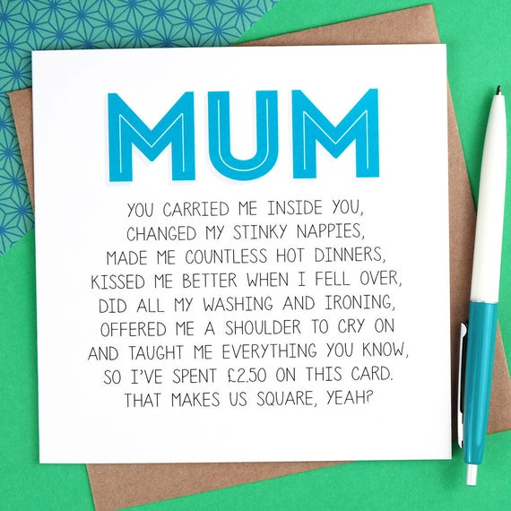 Funny Birthday Card for Mum Funny Mothers Day Card mum – Birthday Cards for Mum