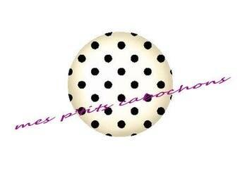 25 mm - nice Ref 5 polka dot glass cabochon