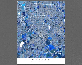 Dallas Map Print, Dallas Art, Dallas Texas City Map Art