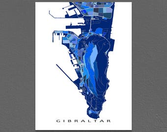 Gibraltar Map Print, Europe City Map Art