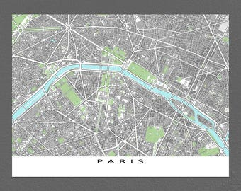 Paris Map, Paris Art Print, Map of Paris France, Europe City Maps