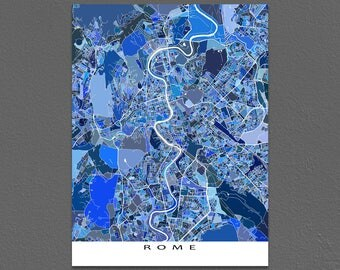 Rome Map Print, Rome Art Map, Roma Italy Artwork, Vatican City