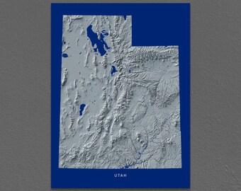 Utah Map, Utah Wall Art, UT State Art Print, Landscape, Navy Blue