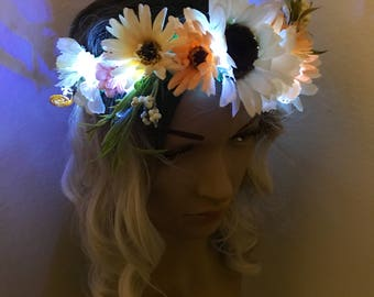 NEW- Improved design-Adjustable LED Flower Crown, festival, rave, headband, sunflower, daisy
