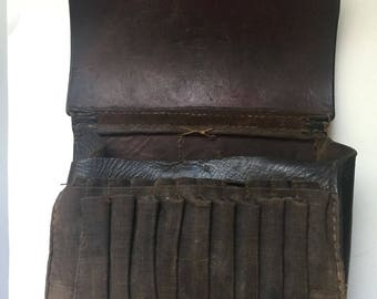 An Antique German Military Leather Cartridge Belt Bag Dated 1892