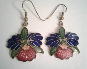 Cloisonne Iris Earrings