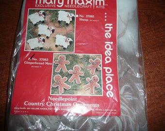Mary Maxim Needlecraft Needlepoint Gingerbread Men Country Christmas Ornaments Kit