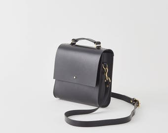 Lucy - Boxy Black Leather Cross-body Bag