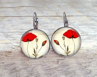 Earrings size sleepers with theme of poppies