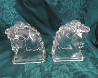 Vintage Federal Glass Horse Head Bookends