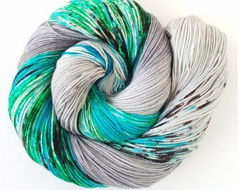 Sea Glass, Painted Indie Dyed Yarn