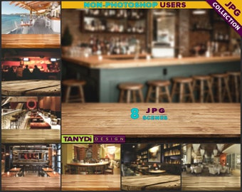 Empty Table Top BT-C2 | Bar Light Dark Wood Table Styled Scene | 8 JPG Bar Cafe Blur Background | Table Scene Creator