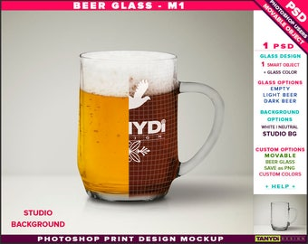 Beer Glass M-1 | Empty, Light & Dark Beer | Photoshop Print Mockup | Front view Glass on Studio Background | Smart object Custom colors
