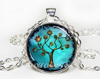 Turquoise with Copper colored Tree