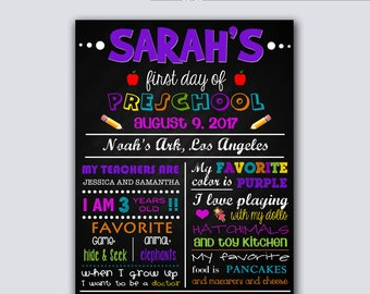 """Printable First Day of School Sign, Chalkboard, Preschool Sign, Kindergarten Sign, Print At Home, 8""""x10"""" FILE DOWNLOAD Printable Poster Art"""