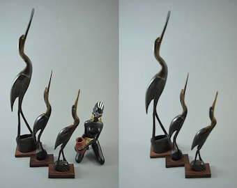 Vintage crane heron bird sculptur figurine, horn, set of 3, Mid Century Design, popular design object of the 60s
