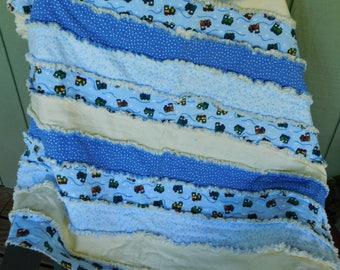 Rag quilt, handmade quilt, baby quilt, toddler quilt, baby boy quilt, baby gift, blue quilt, yellow quilt, train quilt, QUILT, shabby quilt
