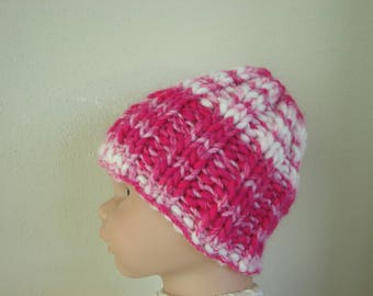 Hand knit hat bright pink hat size 1 - 1.5 yrs warm comfortable winter hat knit no seams chunky pink baby hat toddler hat girl ballerina hat