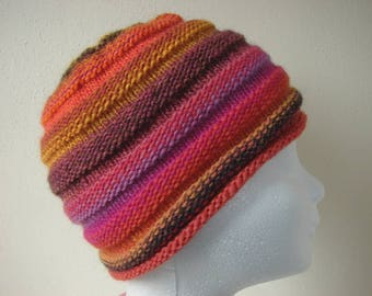 Knit beehive hat, handknit hat in bright autumn colors, beanie child, winter hat girl knit in round wool acrylic hat, fun knit kids hat fall