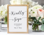 Modern Guest Book Sign - 5x7 and 8x10 - Wedding Sign - Guestbook, Guest Canvas, Photo guest book - Instant Download - Editable PDF - #GD0727