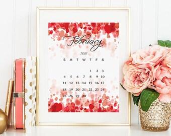 Calendar 2018, February Calendar, 2018 Calendar Desk, Calendar Printable, Monthly Calendar, February Printable, Calendar Print Desk Calendar