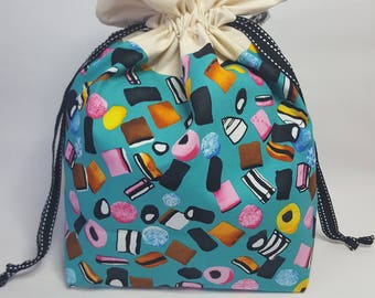 "Medium Lined DRAWSTRING Bag, LIQUORICE, #86, 13""x8""x4"", project bag, storage bag"