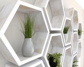 Rustic White Hexagon Wall Shelf in Solid Oak |  Rustic White Oak Set of Honeycomb Shelves | Hexagon Shelf