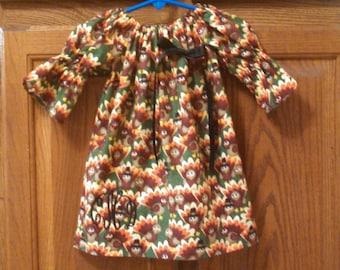 Monogrammed Peasant Dress for Baby/Toddler/Girl, Fall Dress, Thanksgiving Dress, Turkey Dress