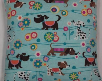 Doggie 14X14 flannel pillow cover