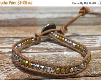 SUMMER SALE Single Wrap Bracelet / Gold and Silver Bracelet / Silver Beaded Bracelet / Chan Luu Style Wrap
