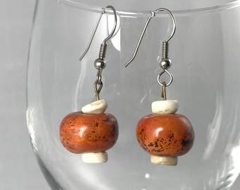 VINTAGE Organic Shell and Polished Wood Earrings