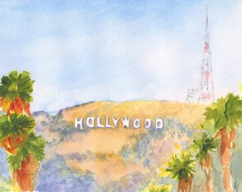 Hollywood sign painting, ORIGINAL Watercolor, 8x10, California landscape, famous landmark, Los Angeles, LaLa land, Mountain, Hollywood hills