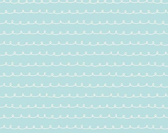 1 Yard Little Dolly by Elea Lutz for Penny Rose Fabrics 6365 Blue Curly