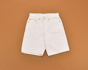 White Levis Shorts, White Denim Shorts, High Waisted Shorts, Long Denim Shorts, 90s White Shorts, 90s Jean Shorts, Size 31 - 30
