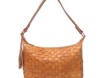Woven Leather Hobo Shoulder Bag