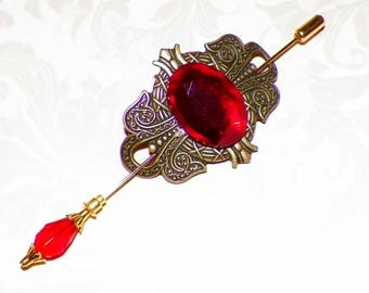 Shawl Pin Red Brooch Victorian Vintage Antique Gold Ruby Style Scarf Pin Hair Slide Edwardian Filigree Stick Pin