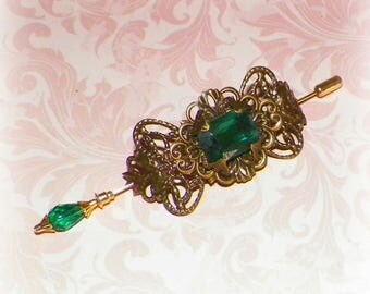 Shawl Pin Green Gold Brooch Victorian Steampunk Vintage Emerald Style Scarf Pin Hair Slide Edwardian Filigree Antique Inspired Stick