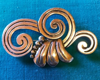 MARICELA Isidro Garcia Pina Modernist Mexican Sterling Silver Tasco Eagle 3 Brooch Pin