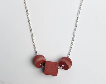 Concrete necklace- red