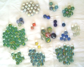 Vintage Lot of 154 Glass Marbles
