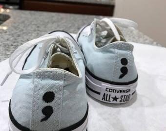 Women's Hand Painted Semicolon Converse