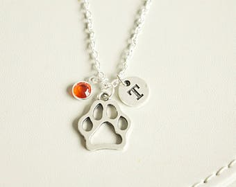 Paw Print Necklace, Dog Paw Necklace, Dog Necklace, Personalized Dog Charm Necklace, Dog Gift, Dog Loss Gift,Pet Loss Gift, Petloss Necklace