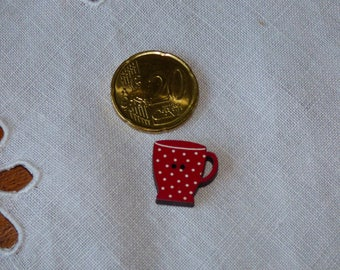 Wood Mazagrand dots red collar button