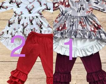 Girls Ruffled Dress with Bloomers/Leggings