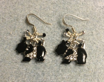 Black enamel and rhinestone Scottish terrier charm earrings adorned with tiny dangling black and silver Chinese crystal beads.