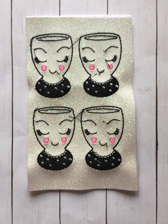 Set of 4 glitter fancy face cup Felties/Felt Embellishments/Planner Supplies/Planner Feltie/Wholesale Felties/Bow Embellishments
