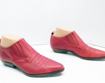 CHILIS red   leather ankle pointy toe low heel shoes size 8