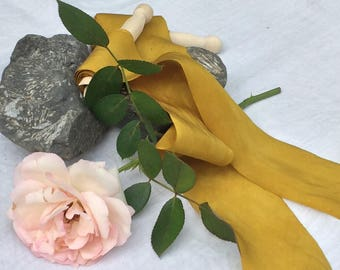 MARIGOLD hand dyed silk habotai ribbon / plant dyed / eco dyed / wedding ribbon / styling ribbon / photo prop / pure silk ribbon
