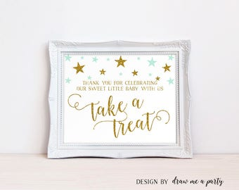 Twinkle Twinkle Little Star Baby Shower , Thank you Sign, Take a Treat Printable Sign, Mint and Gold Sign, Mint Baby Shower Decorations